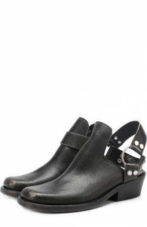 Кожаные ботинки с открытым задником и ремешком Balenciaga. Цвет: черный
