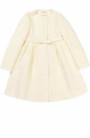 Пальто на поясе с декором I Pinco Pallino. Цвет: кремовый