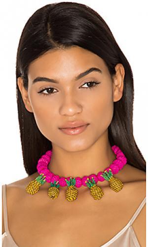 Ожерелье-воротник pinas Mercedes Salazar. Цвет: фуксия