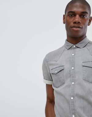 ASOS Светло-серая облегающая джинсовая рубашка в стиле вестерн DESIGN. Цвет: серый