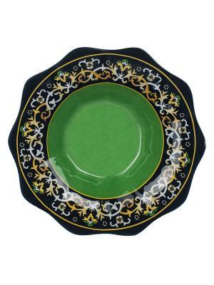 Салатник Восточный мотив 26 см Elff Ceramics. Цвет: черный, зеленый
