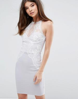 Lipsy Облегающее платье с кружевной отделкой. Цвет: серый