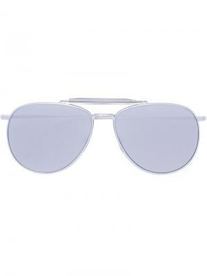 Солнцезащитные очки-авиаторы Thom Browne. Цвет: металлический