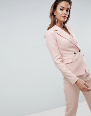 ASOS Блейзер с металлическими пуговицами Tailored. Цвет: розовый