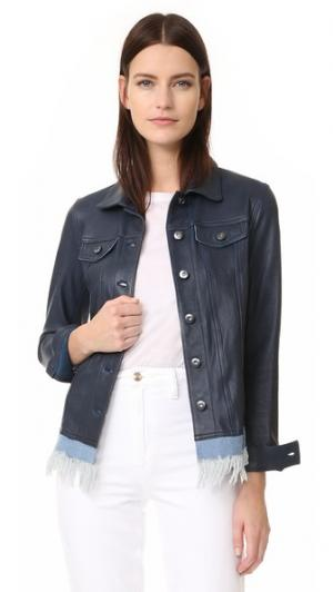 Кожаная куртка из бахромой денима June. Цвет: темно-синий