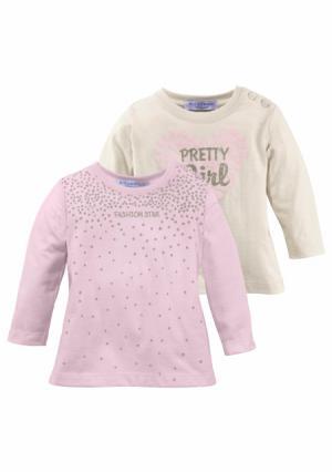 Кофточка с длинными рукавами, 2 штуки KLITZEKLEIN. Цвет: цвет белой шерсти+розовый