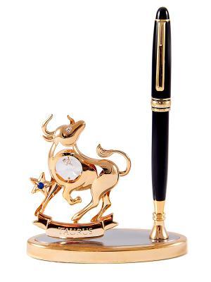 Подставка под ручку - знак зодиака Телец CRYSTOCRAFT. Цвет: золотистый, черный