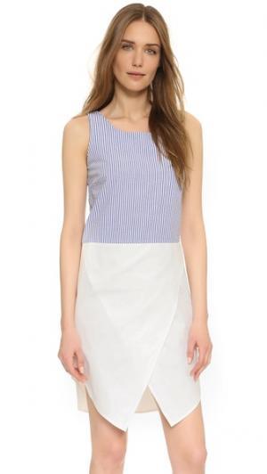Платье без рукавов Jenna RUKEN. Цвет: ткань в крепированную полоску/белый
