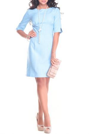 Лаконичное офисное платье Laura Bettini. Цвет: голубой