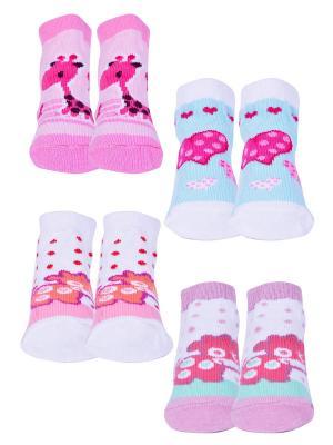 Носки, 4 пары Malerba. Цвет: фиолетовый, оранжевый, розовый