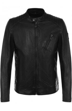 Кожаная куртка на молнии с воротником-стойкой Belstaff. Цвет: черный