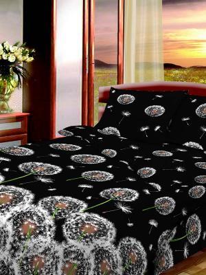 Комплект постельного белья из бязи Семейный Василиса. Цвет: черный, белый