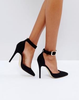 London Rebel Туфли на высоком каблуке с острым носом и пряжками. Цвет: черный