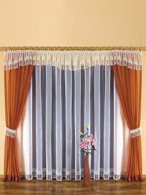 Комплект штор Wisan. Цвет: белый, светло-коричневый