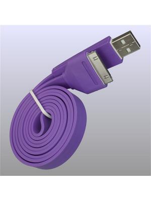 Usb кабель Pro Legend плоский Iphone 4, 30 pin, 1м,  фиолетовый. Цвет: фиолетовый