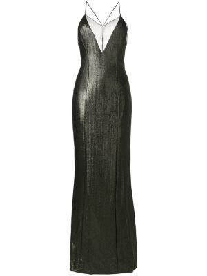 Metallic crossback dress Galvan. Цвет: зелёный