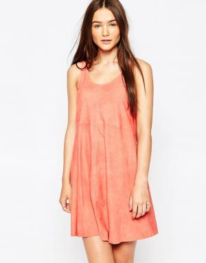 Muubaa Кожаное платье с драпировкой Beaulieu. Цвет: оранжевый