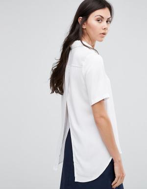 ADPT Tall Рубашка с короткими рукавами и запахом. Цвет: кремовый