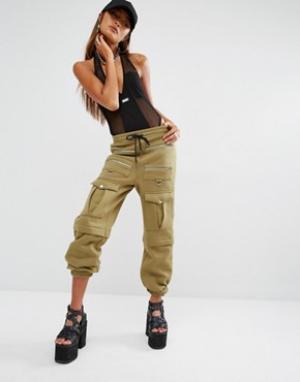 SHADE London Спортивные штаны в стиле милитари с карманами. Цвет: зеленый