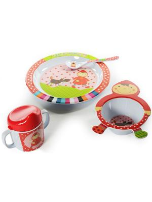 Набор посуды 4 предмета Красная шапочка Ebulobo. Цвет: светло-зеленый, белый, бледно-розовый, красный, розовый