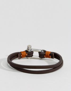 Seven London Коричневый кожаный браслет. Цвет: коричневый