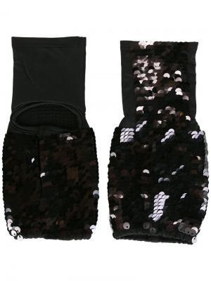 Перчатки с пайетками Mes Demoiselles. Цвет: чёрный