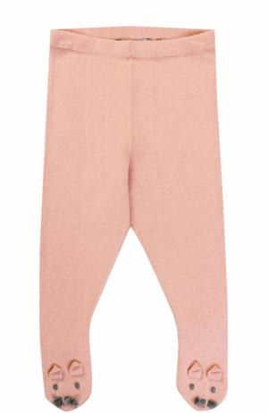 Ползунки из хлопка и шерсти с декором Stella McCartney. Цвет: розовый