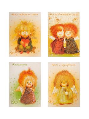 Набор открыток художницы Чувиляевой (4шт) Artangels. Цвет: желтый, оливковый