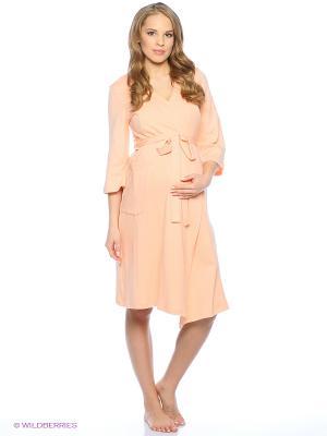 Домашний комплект для беременных и кормящих (халат+сорочка) Hunny Mammy. Цвет: персиковый