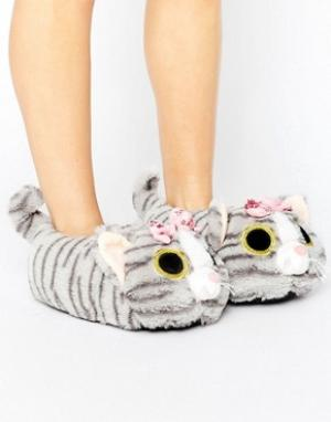 Loungeable Слиперы-кошки. Цвет: серый