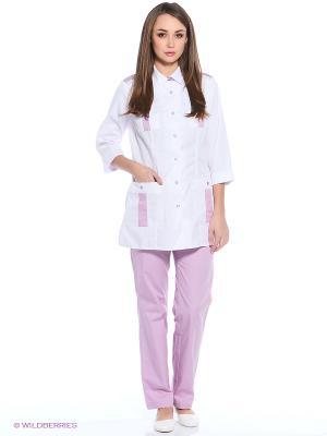 Халат медицинский Med Fashion Lab. Цвет: белый, розовый