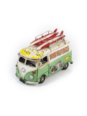 Модель Ретро Автобус зелёный с белым,с фоторамкой и копилкой 4х5см PLATINUM quality. Цвет: зеленый, белый
