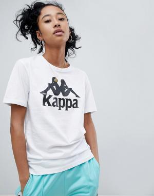 Kappa Свободная футболка с крупным логотипом. Цвет: белый