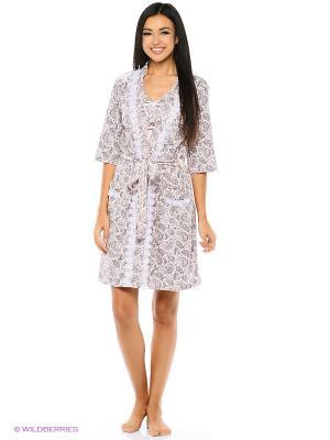 Комплект домашней одежды ( халат, ночная сорочка) HomeLike. Цвет: розовый, серый