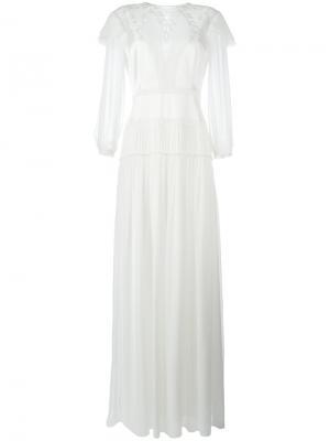 Длинное платье с кружевной панелью Alberta Ferretti. Цвет: телесный