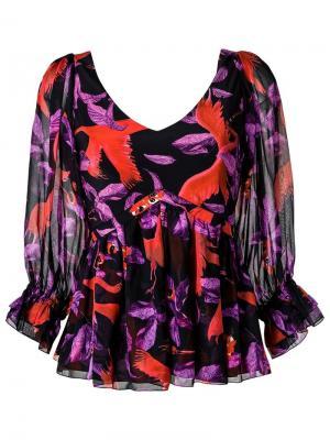 Шелковая блузка с принтом Isolda. Цвет: чёрный