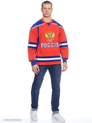 Хоккейный свитшот Atributika & Club. Цвет: красный, синий