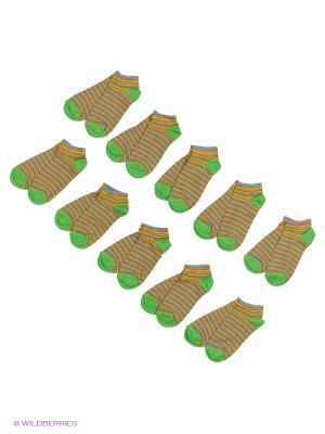 Носочки детские Тульский трикотаж (комплект 10 пар). Цвет: зеленый, оранжевый