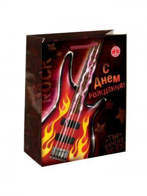 Пакет подарочный с музыкой А М Дизайн. Цвет: темно-бордовый, желтый, малиновый