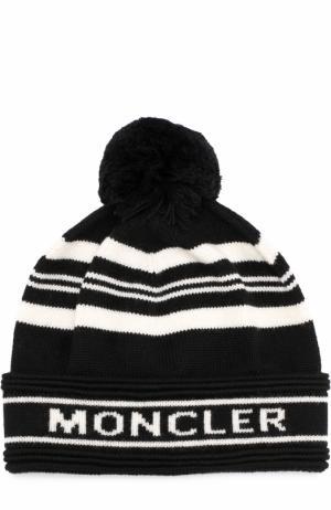 Шерстяная шапка с помпоном Moncler. Цвет: черный