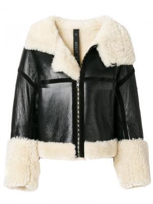 Байкерская куртка с отделкой из овчины Petar Petrov. Цвет: чёрный