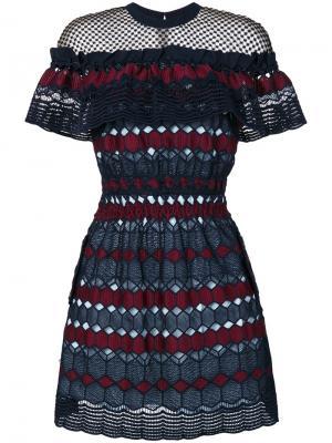 Гипюровое платье Hudson Self-Portrait. Цвет: многоцветный