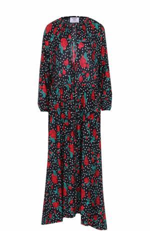 Платье-миди свободного кроя с цветочным принтом Vetements. Цвет: разноцветный