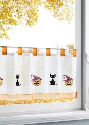 Штора Хэллоуин (белый/оранжевый) bonprix. Цвет: белый/оранжевый