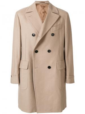 Двубортное пальто Gabriele Pasini. Цвет: телесный