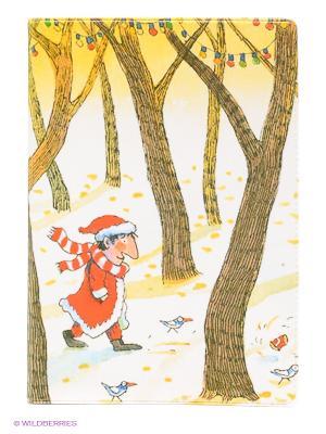 Обложка для паспорта Дед Мороз в лесу Mitya Veselkov. Цвет: желтый, коричневый