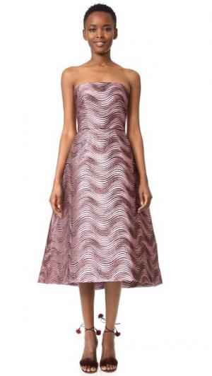 Миди-платье без бретелек Monique Lhuillier. Цвет: розовый