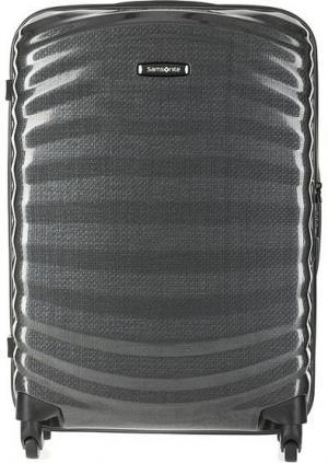 Серый пластиковый чемодан на колесах Samsonite. Цвет: серый