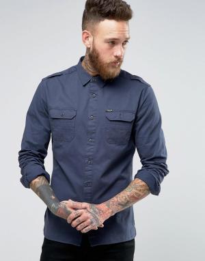 Firetrap Рубашка в стиле милитари. Цвет: темно-синий