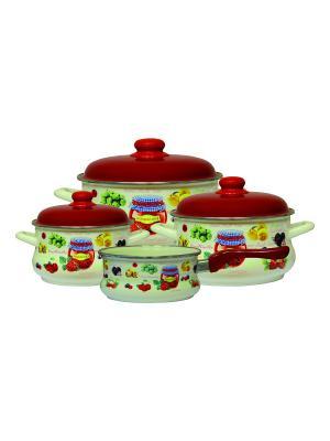 Набор посуды 7 предметов (2,2л, 4л, 5,3л + ковш 1,3л в подарок), мет.крышки METROT. Цвет: бежевый, красный, салатовый